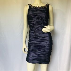 Deep Plum Cocktail Dress with Jewel Encrusted Neck